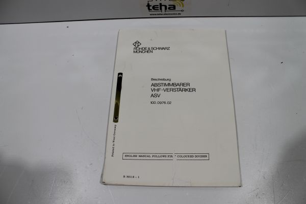 Beschreibung Rhode & Schwarz ASV VHF Verstärker in Deutsch