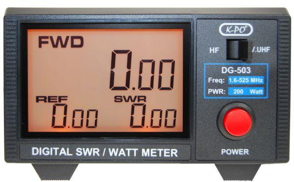 K-PO DG-503N SWR/Watt-Meter mit LC-Display und zwei Messbereichen